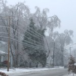 Down the street, ice on electric wires