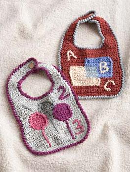 Free Crochet Pattern 90157AD Owl Bib : Lion Brand Yarn Company